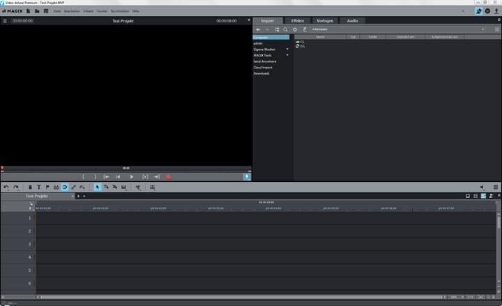 Benutzeroberfläche von Video deluxe