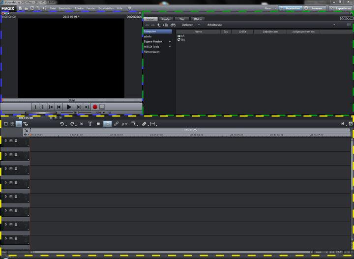 Videobearbeitungsprogramm Benutzeroberfläche