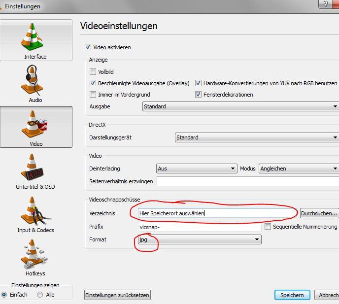 VLC-Einstellungen