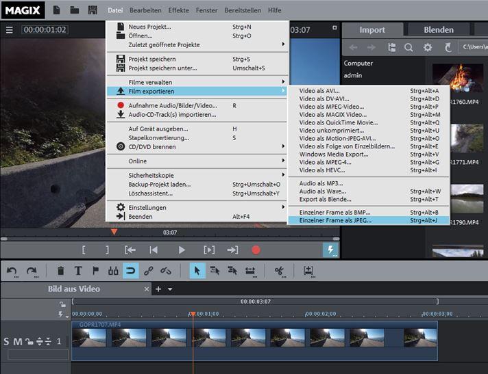 Video deluxe Bild aus Video schneiden